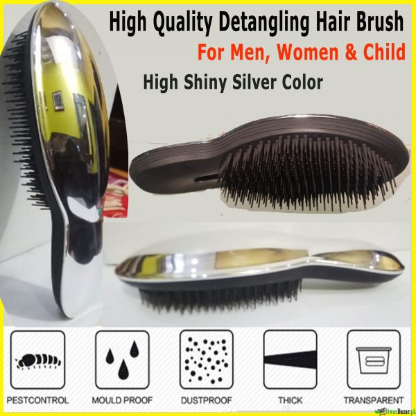 High Quality Sliver Shiny Detangling Hair Brush - Tangles Pain Free & Removes Knots - For Kids & Adults - Wet and Dry Hair Brush Comb