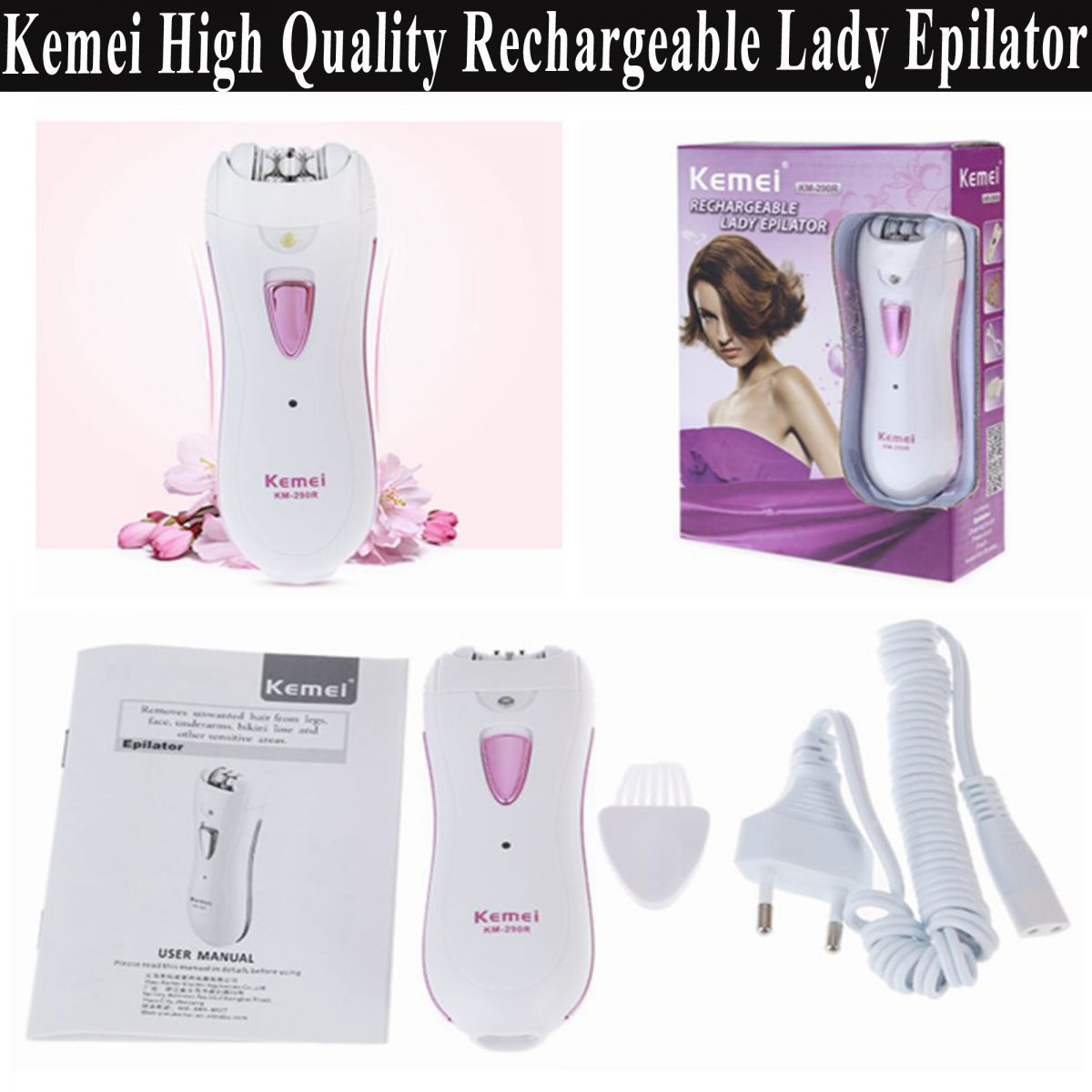 Best Quality Kemei Rechargeable Lady Epilator Hair Removal For
