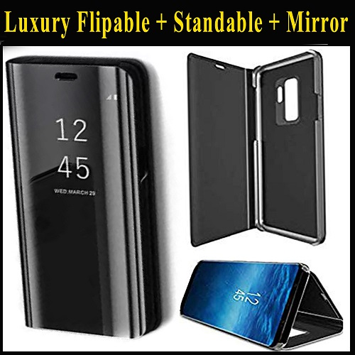 Huawei Y7 Prime 2019 Mobile Cover - Luxury Smart Clear View Mirror Flip with Standing phone Cases