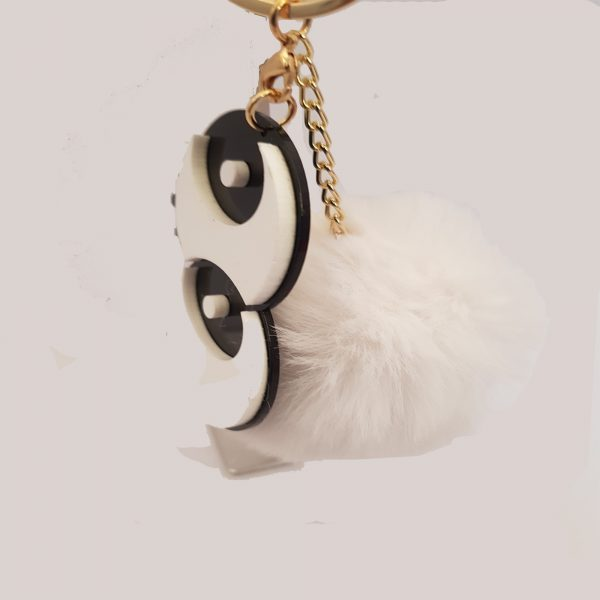 White Double Eye Ring Ball Style Car Key Chain, Bags & Mobile Holder - BH1-A0140