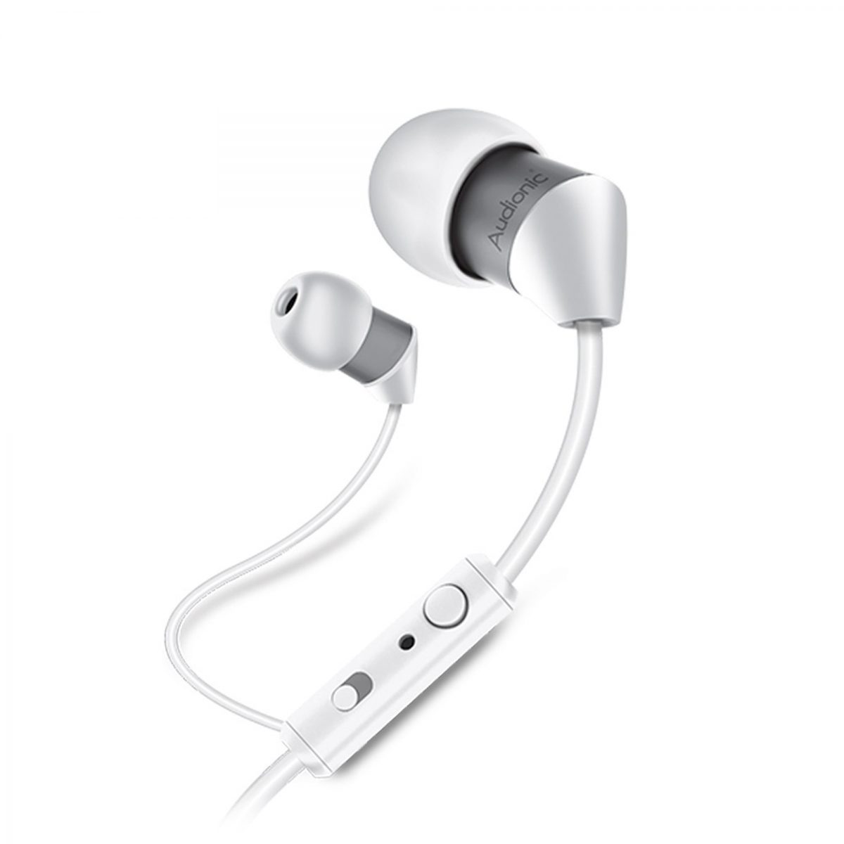 High Quality Audionic White Gray Universal Earphone With Extra Bass T 40 Itwarbazar Pk
