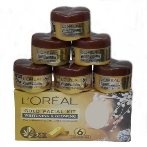 L'Oreal Whitening & Glowing Gold Facial 6 Step Kit 350g - S54O0
