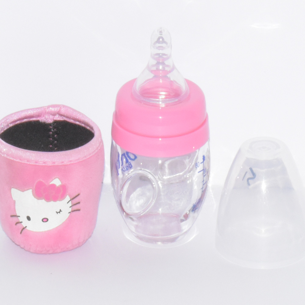 80 ml Kitty Style Glass Baby Feeding Bottle With Cover BF51-3S50