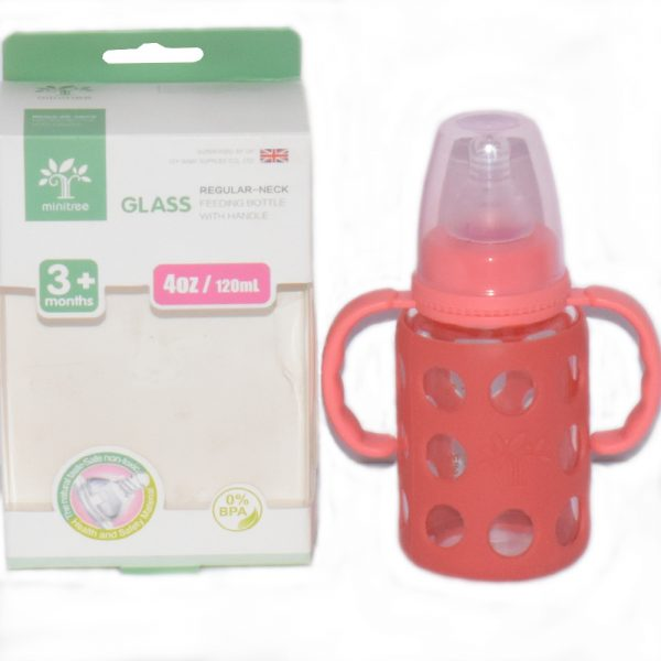 120 ml Minitree Transparent Glass Baby Feeding Bottle With Cover BF65-2B8O0