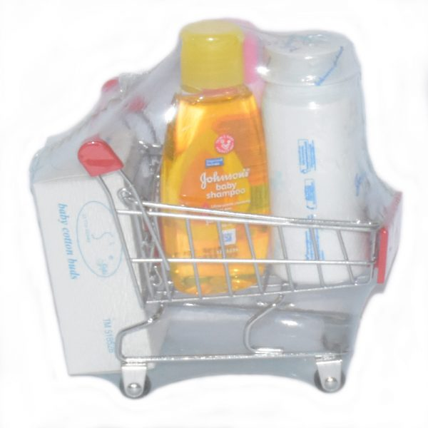 Gift Set For New Born Babies With Basket Powder, Soap, Lotion & Shampoo BF33-5S50