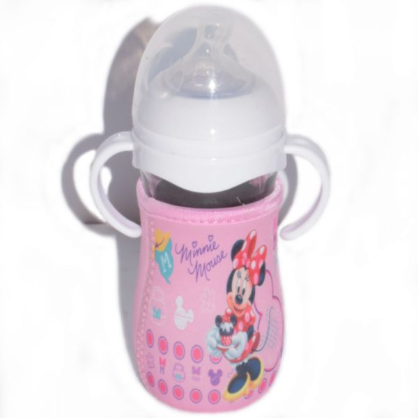 240 ml Avent Micky Mouse Style Glass Baby Feeding Bottle With Cover-S58O0