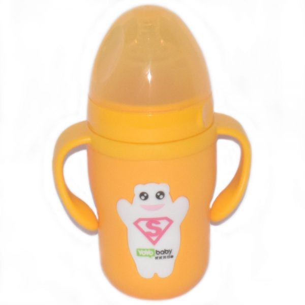 240 ml Bear Style Glass Baby Feeding Bottle With Handle & Cover-P90O0