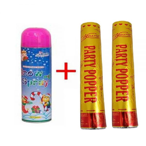 Birthday 2 Large Party Popper With Snow Spray-'S54I1