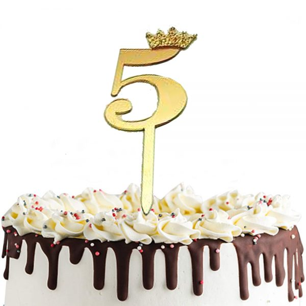 Gold Number 5 Taj Style Birthday Cake Topper 'L08A