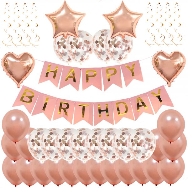 Birthday Party Package: 18 brown latex balloons, 12 brown confetti balloons,2 heart & star foil balloons, 1 happy birthday banner