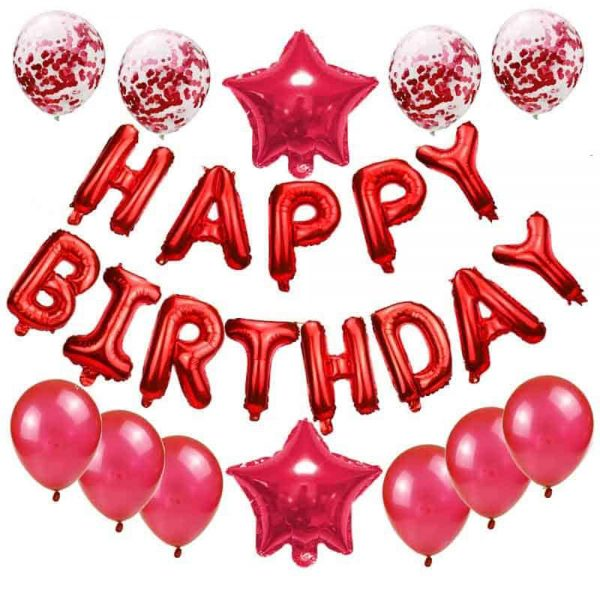 Birthday Party Package: 6 red latex balloons, 4 red Confetti Balloons, 2 star foil balloons, 1 happy birthday banner