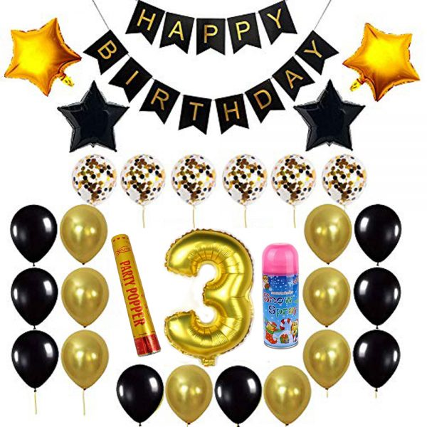 Birthday Party Package: 100 Latex Balloons, 4 star foil Balloons, 6 confetti balloons, gold number 3 foil balloon, 1 large party popper, 1 small snow spray, 1 happy birthday banner