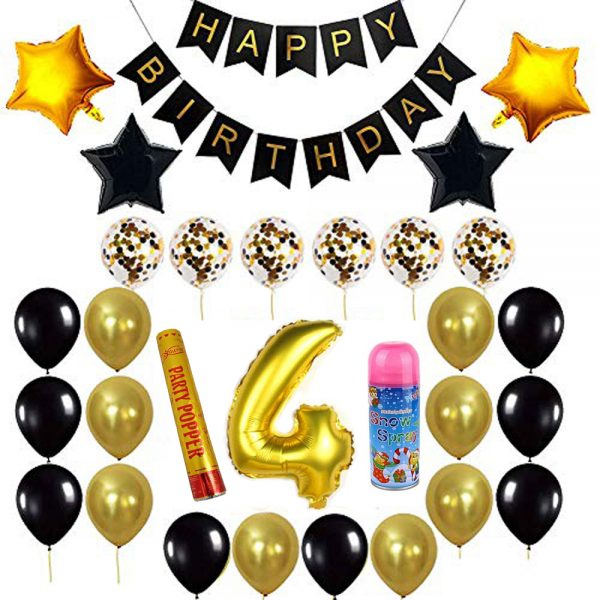 Birthday Party Package: 100 Latex Balloons, 4 star foil Balloons, 6 confetti balloons, gold number 4 foil balloon, 1 large party popper, 1 small snow spray, 1 happy birthday banner