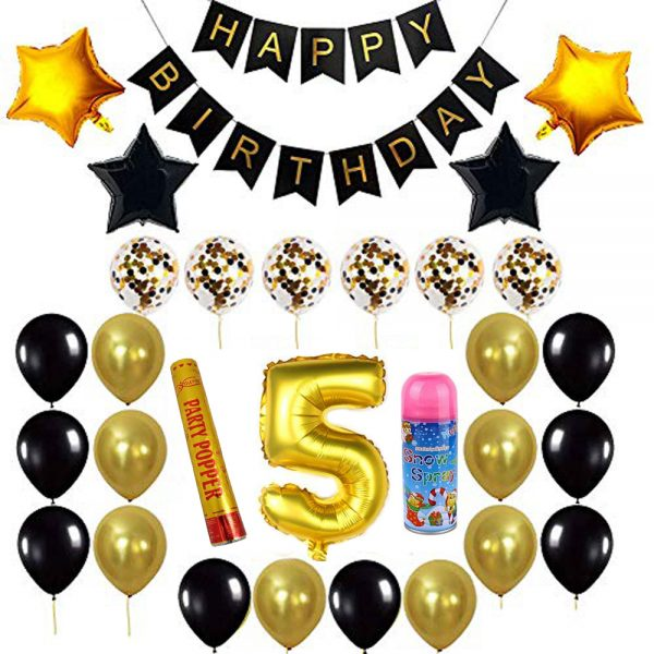 Birthday Party Package: 100 Latex Balloons, 4 star foil Balloons, 6 confetti balloons, gold number 5 foil balloon, 1 large party popper, 1 small snow spray, 1 happy birthday banner
