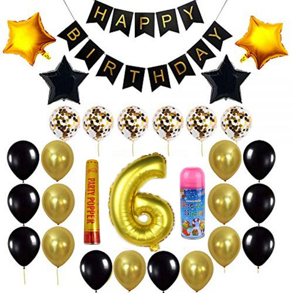 Birthday Party Package: 100 Latex Balloons, 4 star foil Balloons, 6 confetti balloons, gold number 6 foil balloon, 1 large party popper, 1 small snow spray, 1 happy birthday banner