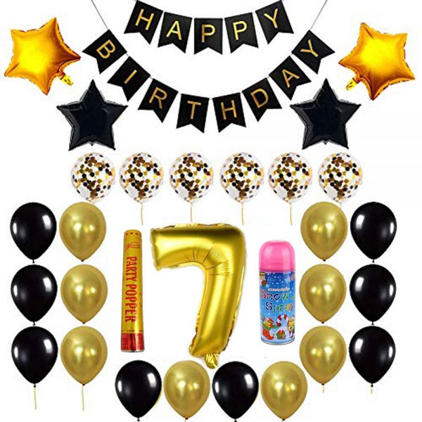 Birthday Party Package: 100 Latex Balloons, 4 star foil Balloons, 6 confetti balloons, gold number 7 foil balloon, 1 large party popper, 1 small snow spray, 1 happy birthday banner