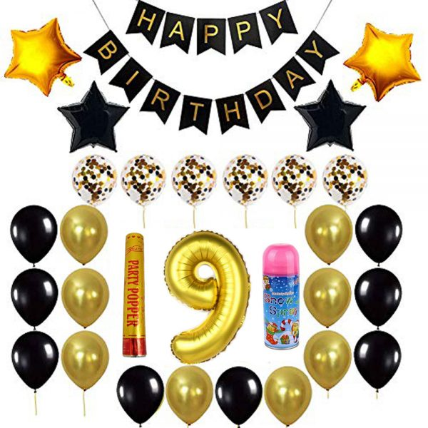 Birthday Party Package: 100 Latex Balloons, 4 star foil Balloons, 6 confetti balloons, gold number 9 foil balloon, 1 large party popper, 1 small snow spray, 1 happy birthday banner