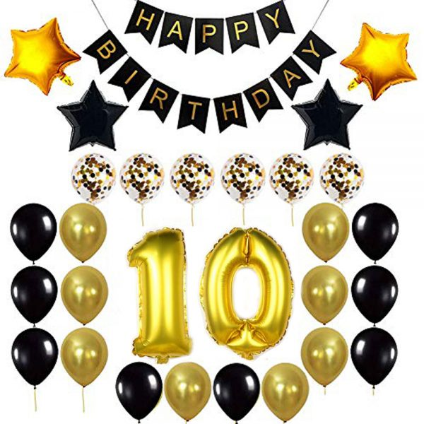 Birthday Party Package: 100 Latex Balloons, 4 star foil Balloons, 6 confetti balloons, gold number 10 foil balloon, 1 large party popper, 1 small snow spray, 1 happy birthday banner
