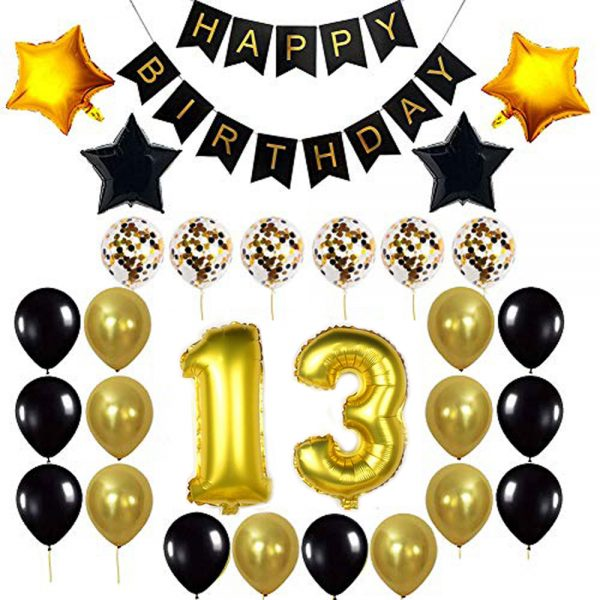 Birthday Party Package: 100 Latex Balloons, 4 star foil Balloons, 6 confetti balloons, gold number 13 foil balloon, 1 happy birthday banner