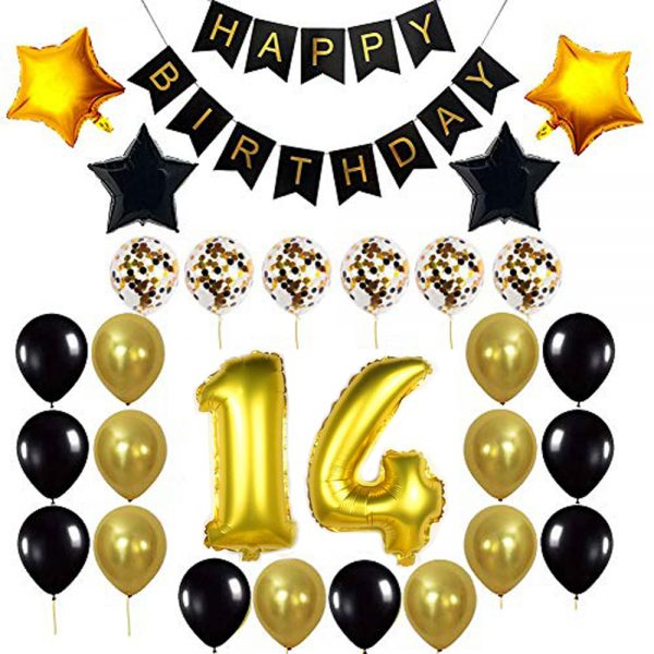 Birthday Party Package: 100 Latex Balloons, 4 star foil Balloons, 6 confetti balloons, gold number 14 foil balloon, 1 happy birthday banner