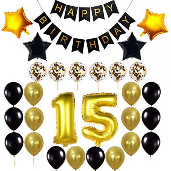 Birthday Party Package: 100 Latex Balloons, 4 star foil Balloons, 6 confetti balloons, gold number 15 foil balloon, 1 happy birthday banner