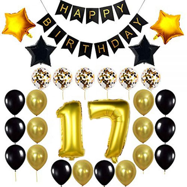 Birthday Party Package: 100 Latex Balloons, 4 star foil Balloons, 6 confetti balloons, gold number 17 foil balloon, 1 happy birthday banner