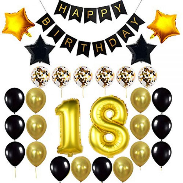Birthday Party Package: 100 Latex Balloons, 4 star foil Balloons, 6 confetti balloons, gold number 18 foil balloon, 1 happy birthday banner