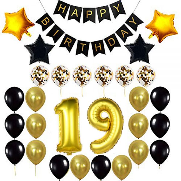 Birthday Party Package: 100 Latex Balloons, 4 star foil Balloons, 6 confetti balloons, gold number 19 foil balloon, 1 happy birthday banner