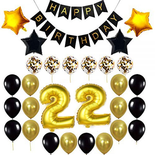 Birthday Party Package: 100 Latex Balloons, 4 star foil Balloons, 6 confetti balloons, gold number 22 foil balloon, 1 happy birthday banner