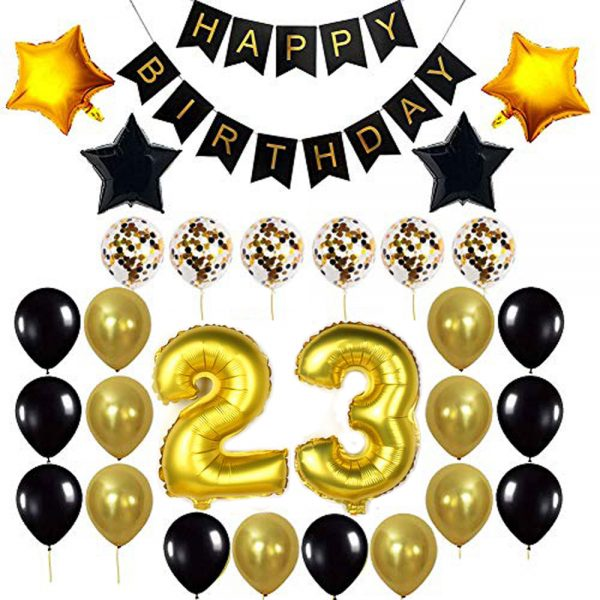 Birthday Party Package: 100 Latex Balloons, 4 star foil Balloons, 6 confetti balloons, gold number 23 foil balloon, 1 happy birthday banner