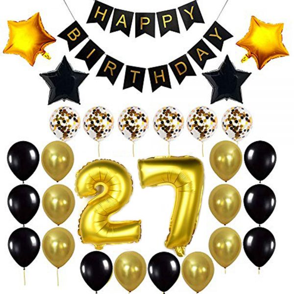 Birthday Party Package: 100 Latex Balloons, 4 star foil Balloons, 6 confetti balloons, gold number 27 foil balloon, 1 happy birthday banner