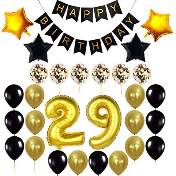 Birthday Party Package: 100 Latex Balloons, 4 star foil Balloons, 6 confetti balloons, gold number 29 foil balloon, 1 happy birthday banner