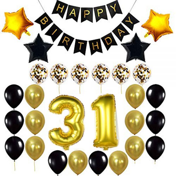 Birthday Party Package: 100 Latex Balloons, 4 star foil Balloons, 6 confetti balloons, gold number 31 foil balloon, 1 happy birthday banner