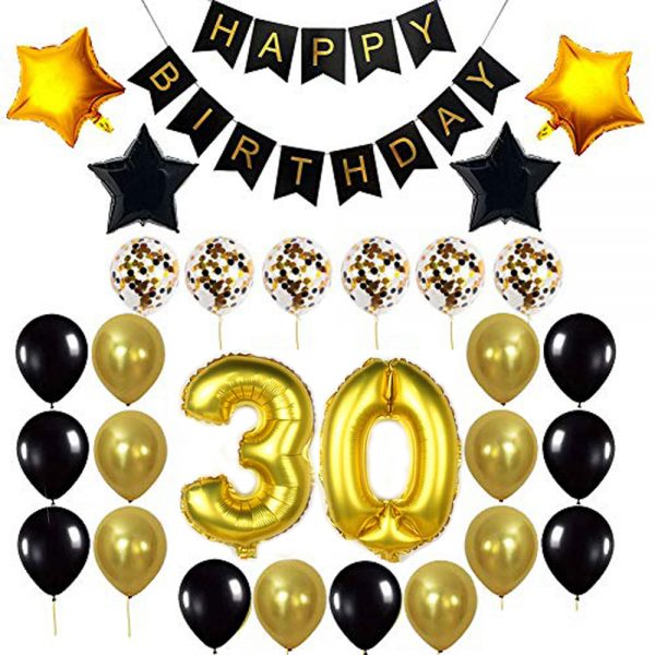 Birthday Party Package: 100 Latex Balloons, 4 star foil Balloons, 6 confetti balloons, gold number 30 foil balloon, 1 happy birthday banner