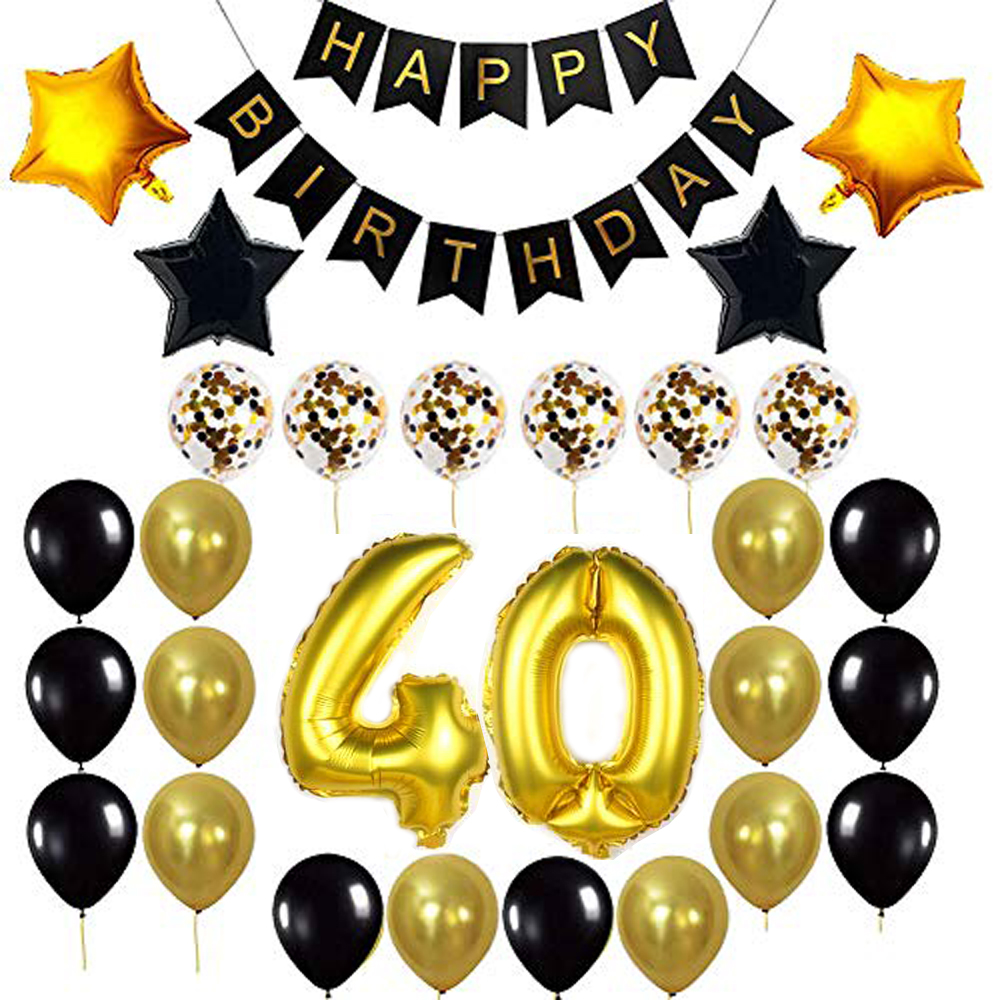 Birthday Party Package: 100 Latex Balloons, 4 star foil Balloons, 6 confetti balloons, gold number 40 foil balloon, 1 happy birthday banner