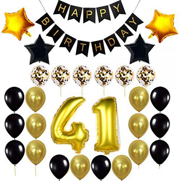 Birthday Party Package: 100 Latex Balloons, 4 star foil Balloons, 6 confetti balloons, gold number 41 foil balloon, 1 happy birthday banner
