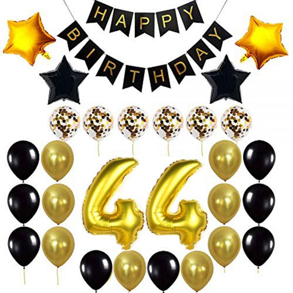 Birthday Party Package: 100 Latex Balloons, 4 star foil Balloons, 6 confetti balloons, gold number 44 foil balloon, 1 happy birthday banner