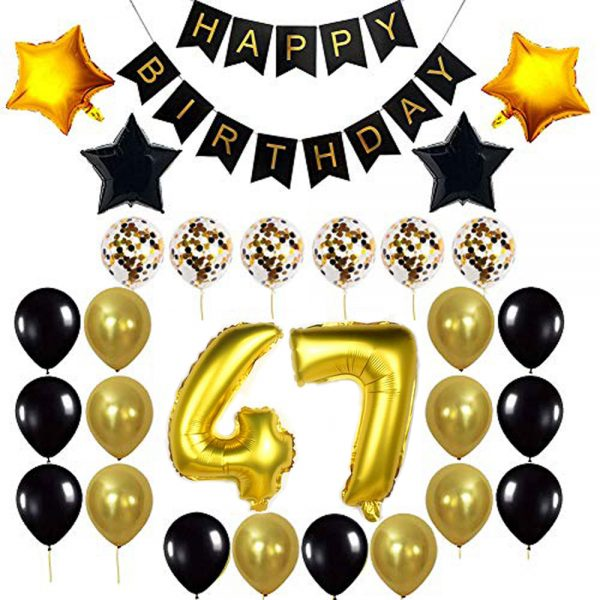 Birthday Party Package: 100 Latex Balloons, 4 star foil Balloons, 6 confetti balloons, gold number 47 foil balloon, 1 happy birthday banner