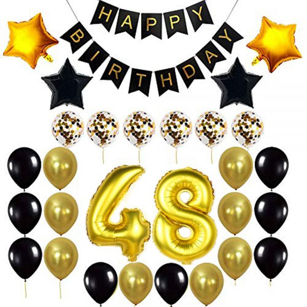Birthday Party Package: 100 Latex Balloons, 4 star foil Balloons, 6 confetti balloons, gold number 48 foil balloon, 1 happy birthday banner