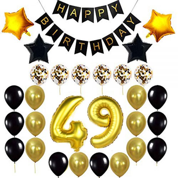 Birthday Party Package: 100 Latex Balloons, 4 star foil Balloons, 6 confetti balloons, gold number 49 foil balloon, 1 happy birthday banner
