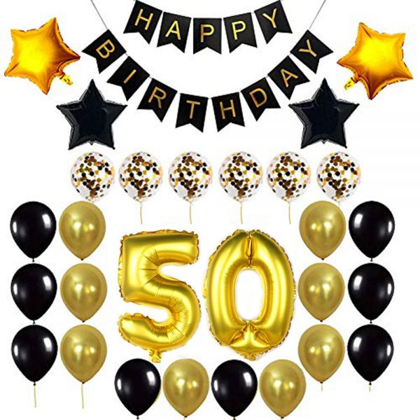 Birthday Party Package: 100 Latex Balloons, 4 star foil Balloons, 6 confetti balloons, gold number 50 foil balloon, 1 happy birthday banner