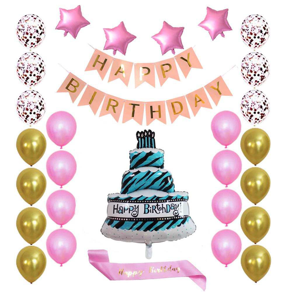 Birthday Party Package: 100 golden&pink latex balloon, 1 happy birthday foil cake balloon, 4 heart foil balloon, 6 confetti balloon, 1 happy birthday banner, 1 sash