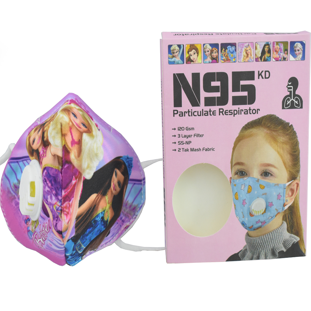 3 to 8 Years Barbie Cartoon Character N95 Mask for Kids, boys & Girls Fm9
