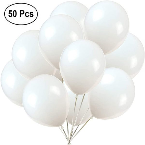 Party Decoration White Latex Balloons 50pcs 'O0S51