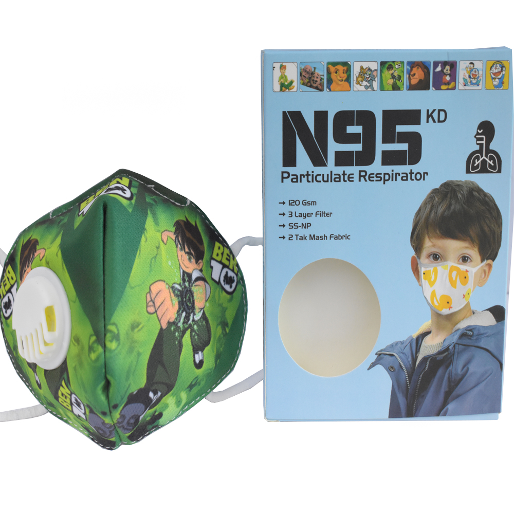 8 to 16 Years Ben 10 Cartoon Character N95 Mask for boys & Girls Fm11