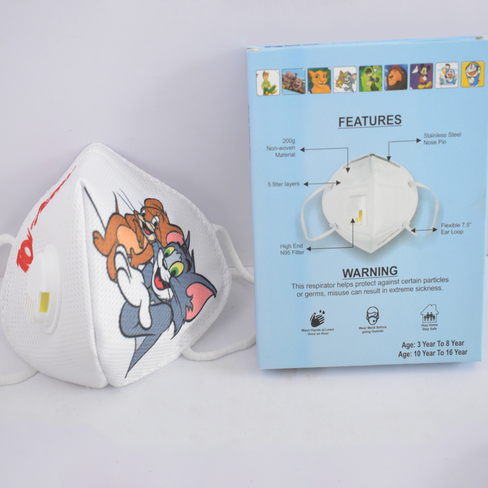 3 to 8 years Tom & Jerry Cartoon Character N95 Mask for Kids, boys & Girls fm17