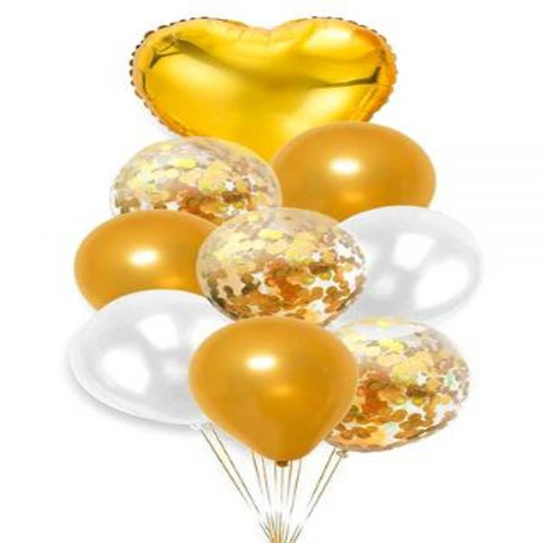 Party Decoration Foil Balloons Set 1 heart balloon, 3 confetti balloons, 2 latex balloons '0M0I1