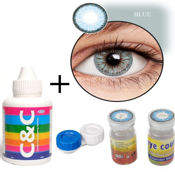 Extended Wear Eye Coun 3 Ton Blue Contact Pair Lens with Kit Set 'O053XC