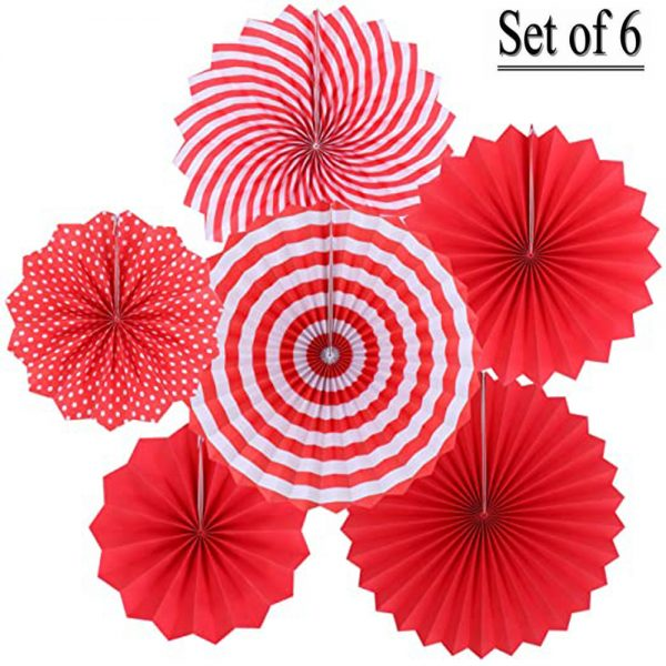 Hanging Red Paper Fans Party Set of 6 Round Pattern Paper '05PE2