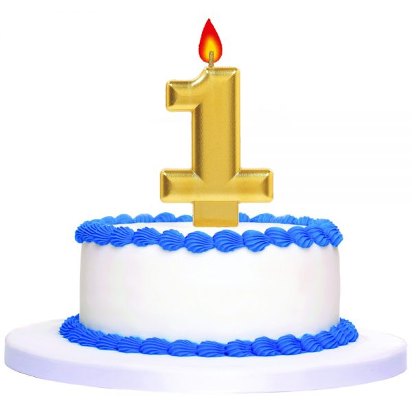 Gold Number 1 Birthday Cake Topper Candle '0SC5